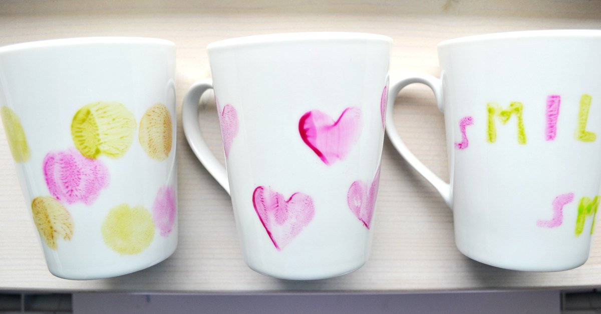 how to decorate a mug with homemade stamps frogs and fairies. Black Bedroom Furniture Sets. Home Design Ideas