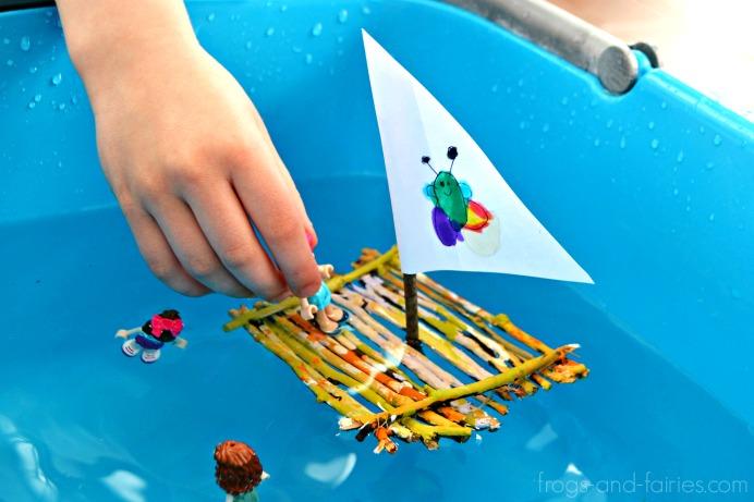 Painted Twig Raft Boat