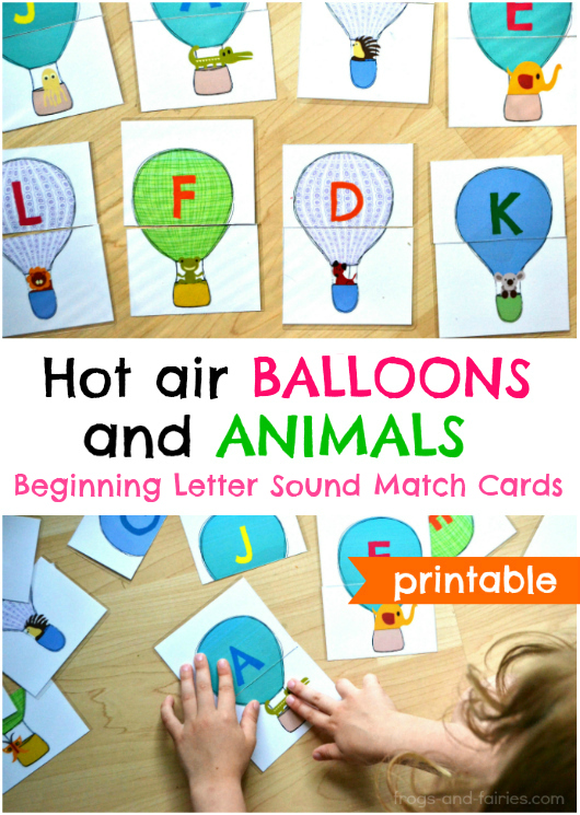 Hot Air Balloons and Animals Beginning Letter Sound Match