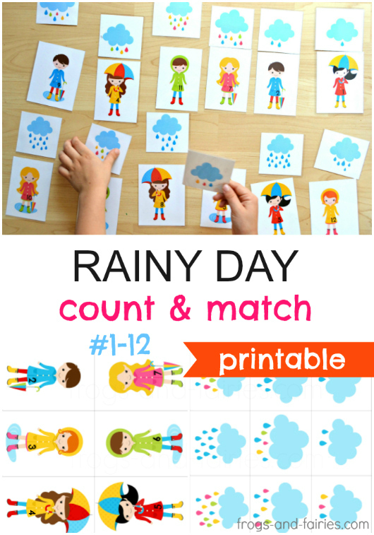 Rainy Day - Count and Match Printable Cards
