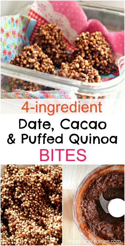 Delicious Date, Cacao & Puffed Quinoa Bites