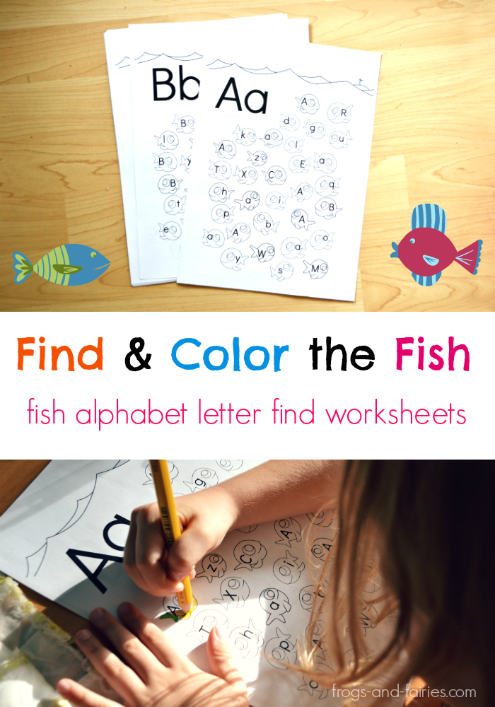 Fish Alphabet Upper & Lower Case Letter Find Worksheets