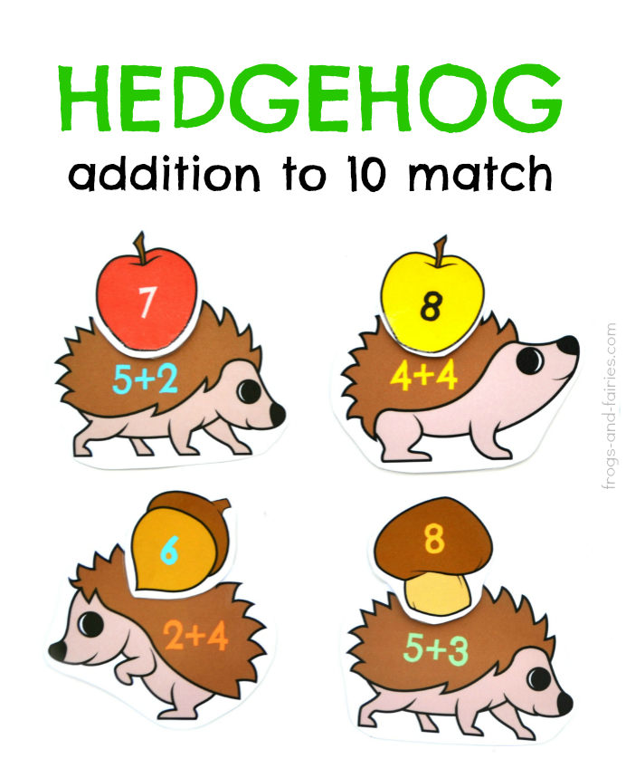 Hedgehog Addition to 10 Match
