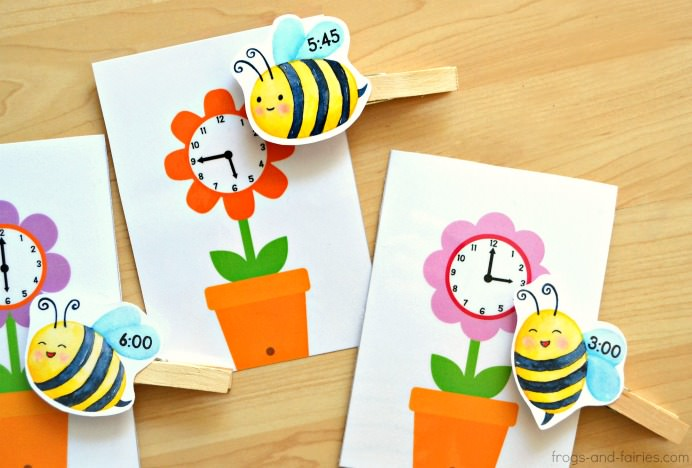 Telling Time Bees and Flowers Match