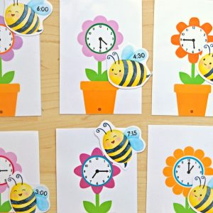 Telling Time Bees & Flowers Match
