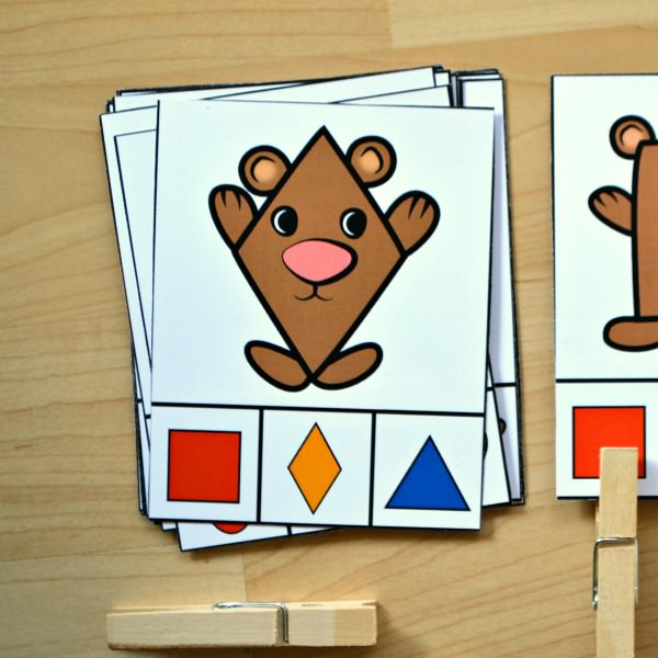 Bear Shape Match Clip Cards