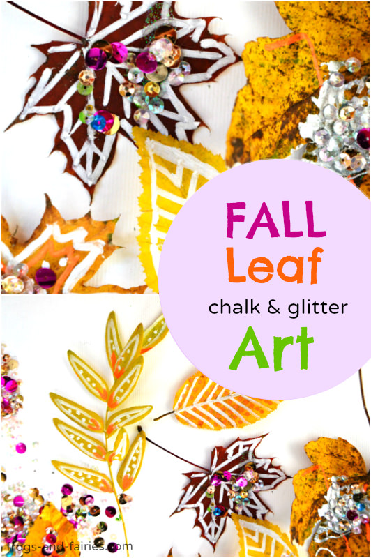 Fall Leaf Chalk and Glitter Art