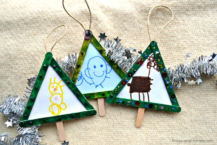 Popsicle Stick Christmas Tree Ornaments  Frogs and Fairies