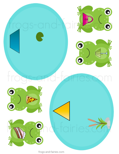 Frogs in the Pond Shape Match Printable Activity