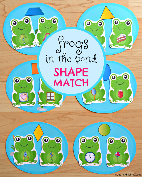Frogs in the Pond Shape Match Printable