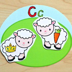 Sheep Beginning Letter Sounds Match Printable