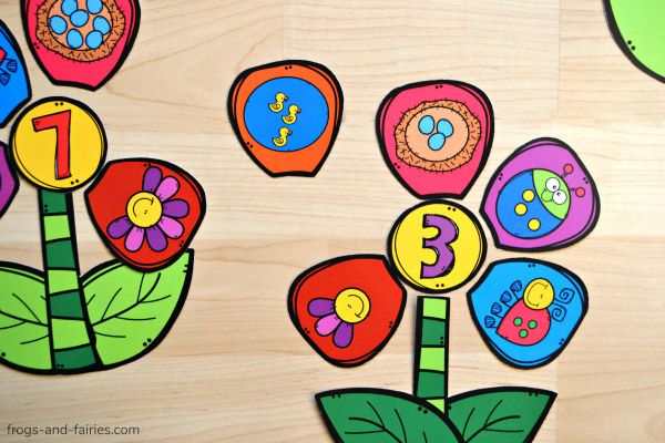 Build a Flower Number Match Printable Game