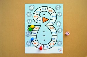 Snowman Addition to 10 Printable Board Game