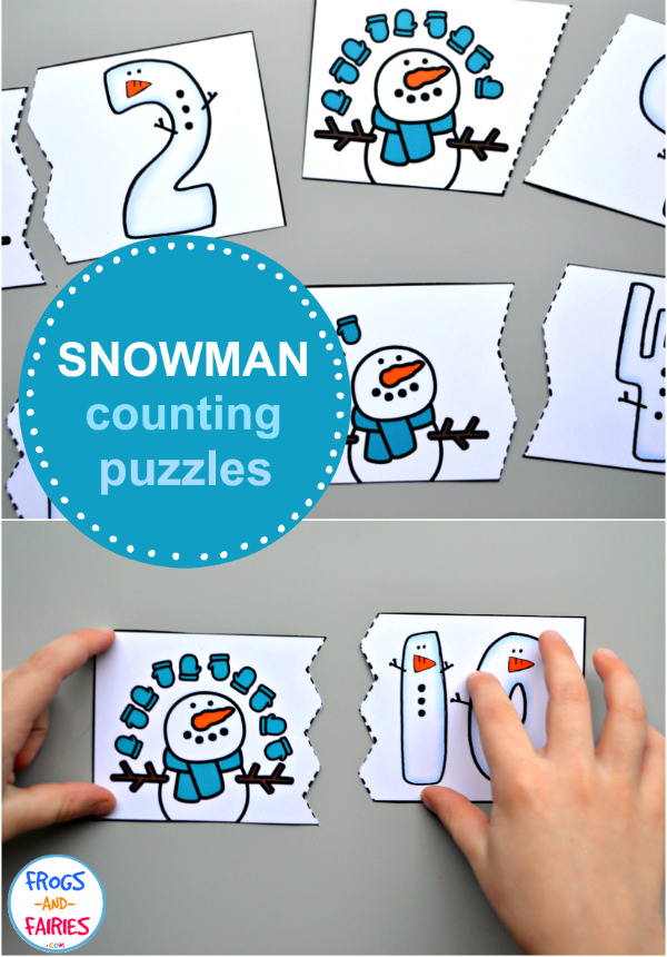 Snowman Counting Puzzles Printable