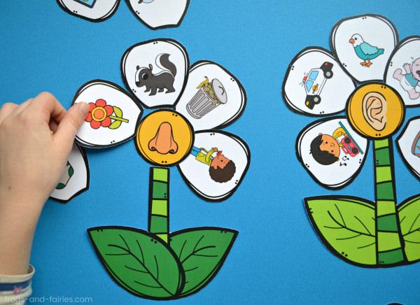 Build a Flower 5 Senses Match Printable Activity