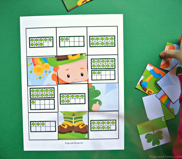 St.Patrick's Day Ten Frame Counting Puzzle