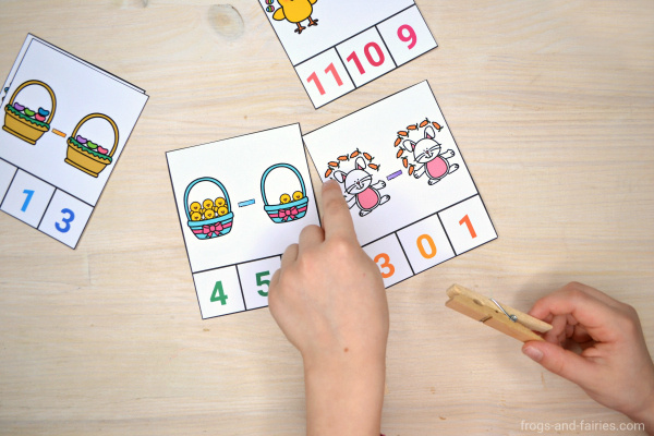 Easter Addition and Subtraction Clip Cards