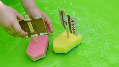 Photo of Sponge and Sticky Tape Sail Boats