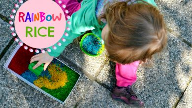Photo of Rainbow Rice Sensory Play
