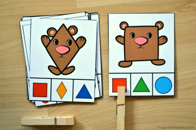 Bear Shape Match Clip Cards Frogs And Fairies