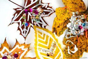Leaf Chalk and Glitter Art
