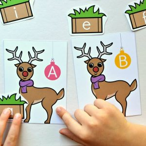 Feed the Reindeer Upper & Lower Case Letter Match