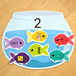 Fish & Fishbowls Number Sense Match Educational Printable for Kids
