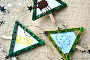 Popsicle Stick Christmas Tree Ornaments DIY Tutorial