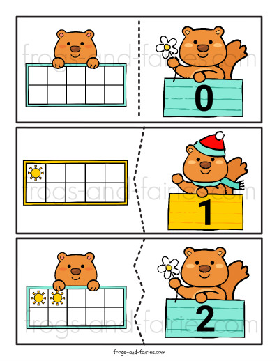 Groundhog Day Ten Frame Number Puzzles Printable
