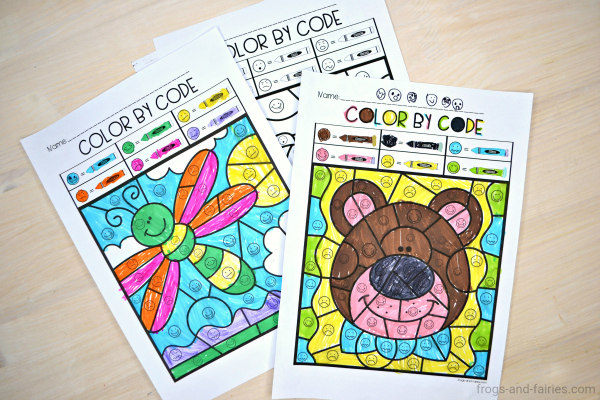Color by Code Emotions printable pages