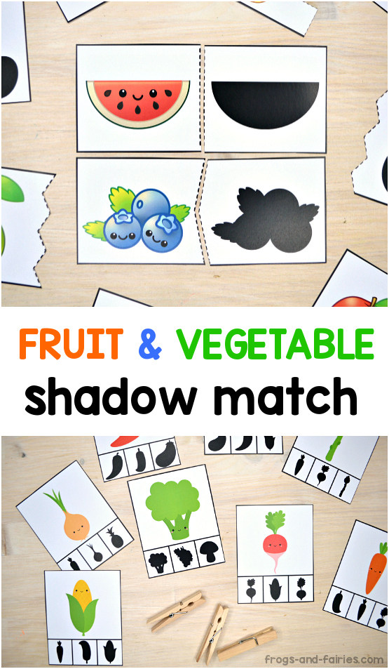 Fruit and Vegetable Shadow Match Puzzle & Clip Card Printable Pack