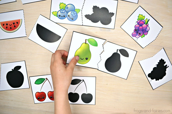 Fruit and Vegetable Shadow Match Puzzle & Clip Card Pack