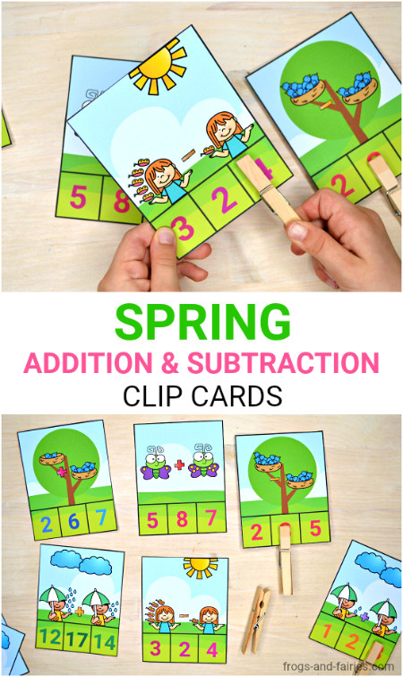 Spring Addition & Subtraction Clip Cards