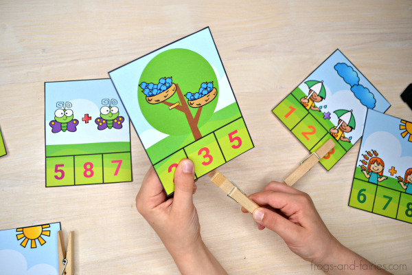 Spring Addition and Subtraction Clip Cards