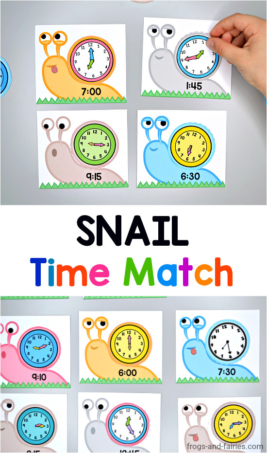 Snail Time Match Printable Activity