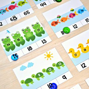 In the Pond Missing Numbers Clip Cards