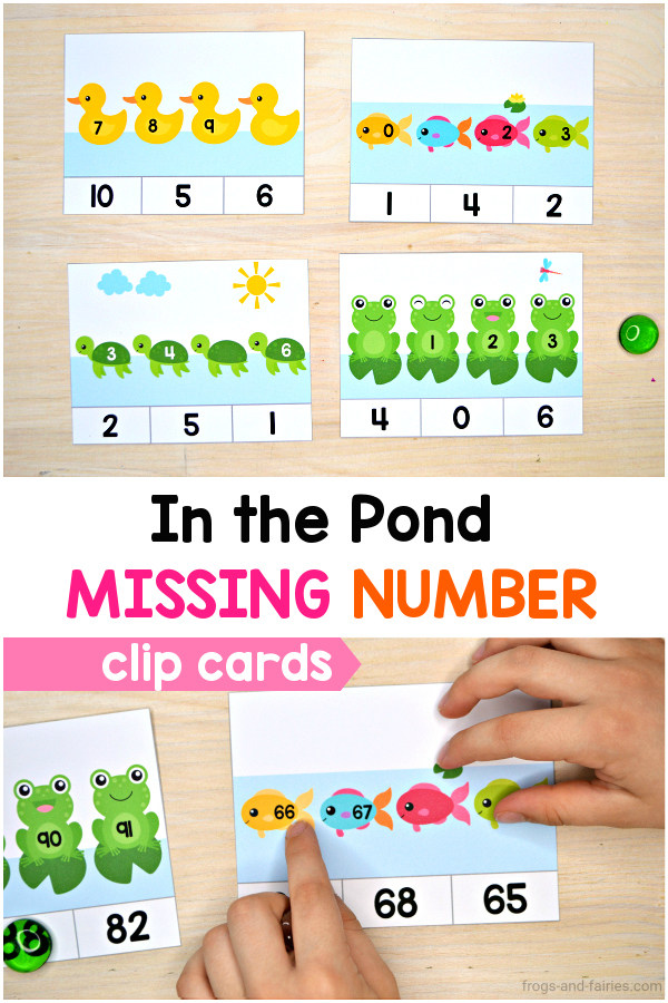 In the Pond Missing Number Clip Cards