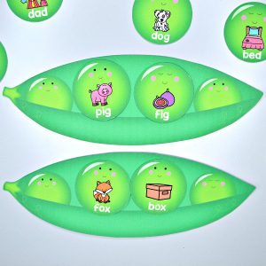 Peas in the Pod Rhyming CVC Word Match