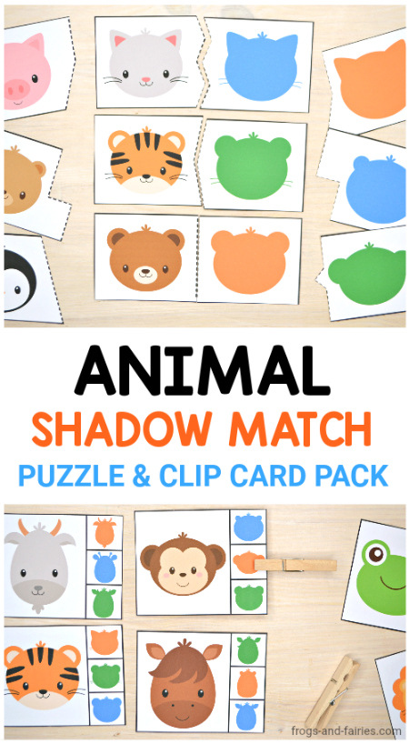 Animal Shadow Match Puzzle & Clip Card Pack