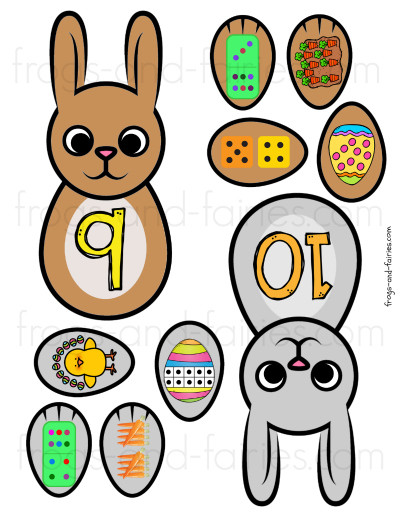 Build an Easter Bunny Number Match - Number Sense Printable Activity