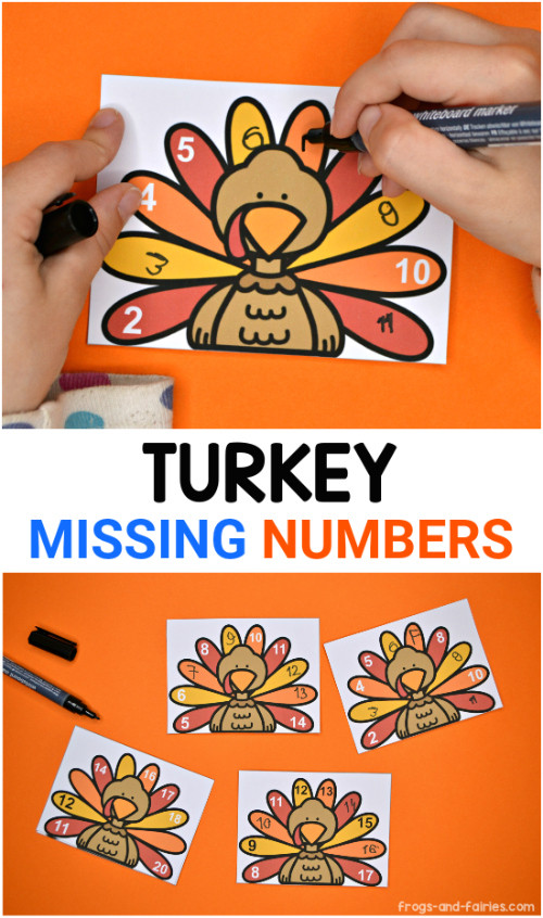 Turkey Missing Numbers Printable Activity