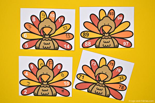 Turkey Missing Numbers Printable Cards & Worksheets