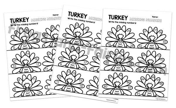 Turkey Missing Numbers Printable Cards & Worksheets