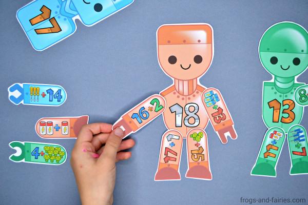 Build a Robot Addition Match Printable Activity