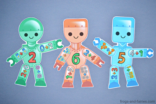 Build a Robot Addition Match Printable Activity