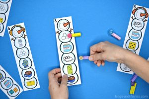 Snowman Clip Cards - Numbers, Letters & Shapes