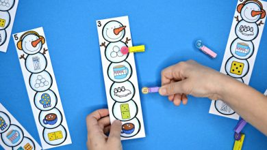 Photo of Snowman Clip Cards – Numbers, Letters & Shapes