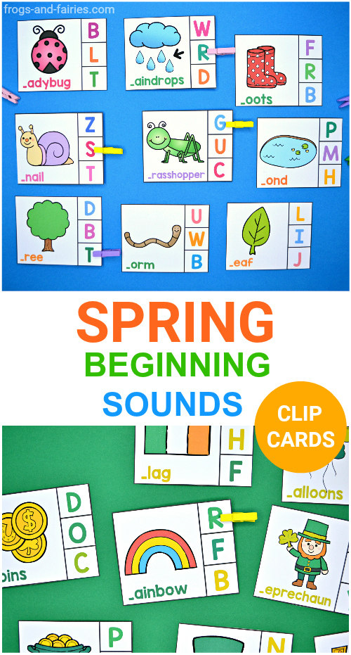 Spring Beginning Sounds Clip Cards