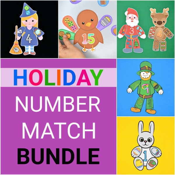 Holiday Number Match Bundle - Number Sense Printable Activities