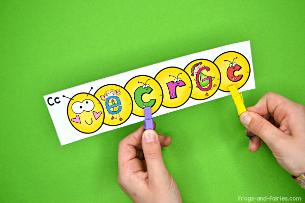Caterpillar Clip Cards - Number, Letters & Shapes